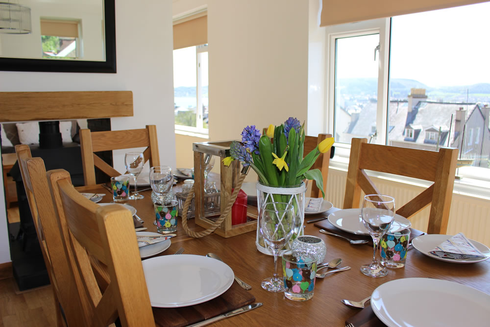 Quality oak furniture throughout and beach views while you dine